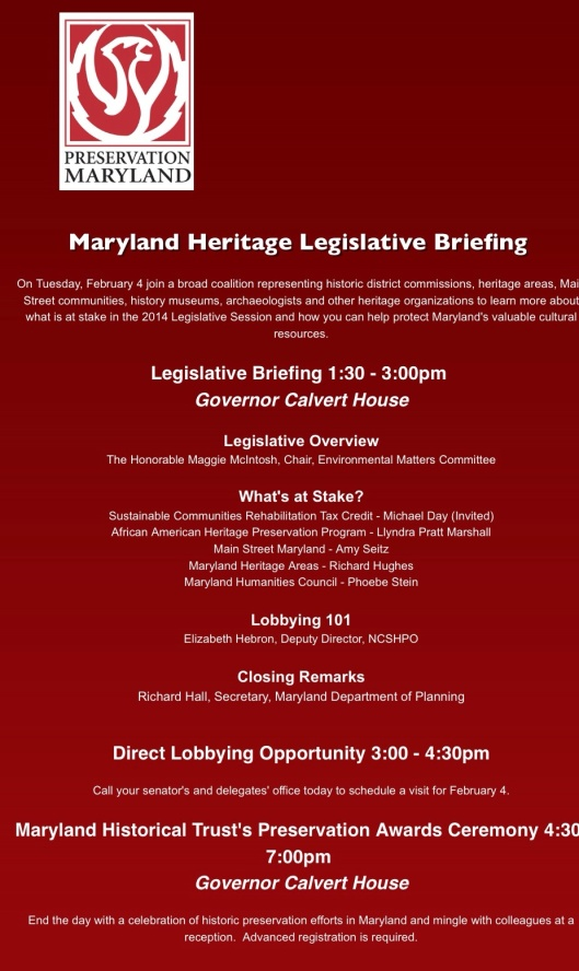Join Board Member Stacie Hawkins and John Petro Today at the Maryland Heritage Legislation Briefing