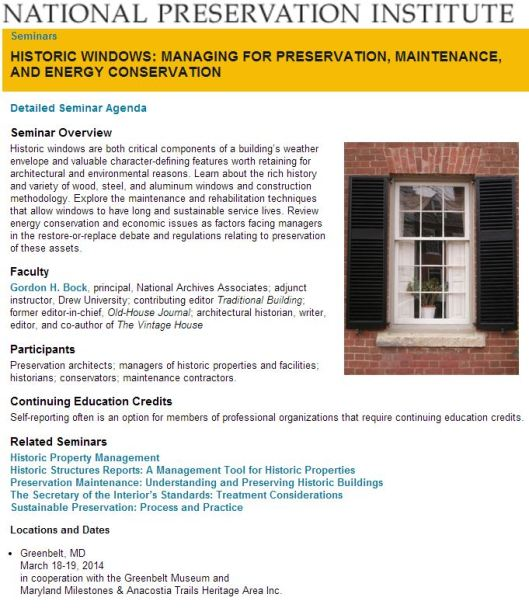 The National Preservation Institute (NPI) Window Seminar comes to Greenbelt, MD